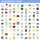 100 science icons set, flat style. 100 science icons set in flat style for any design vector illustration Stock Photos