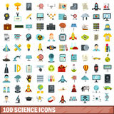 100 science icons set, flat style Royalty Free Stock Photos