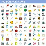 100 science icons set, flat style. 100 science icons set in flat style for any design illustration vector illustration