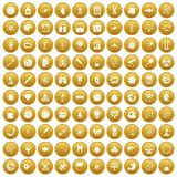 100 science icons set gold. 100 science icons set in gold circle isolated on white vector illustration Royalty Free Stock Photos