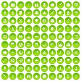 100 science icons set green. 100 science icons set in green circle isolated on white vectr illustration royalty free illustration