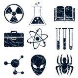 Science icons set, grunge Royalty Free Stock Photos