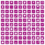 100 science icons set grunge pink. 100 science icons set in grunge style pink color isolated on white background vector illustration Stock Image