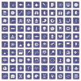 100 science icons set grunge sapphire. 100 science icons set in grunge style sapphire color isolated on white background vector illustration Stock Images