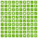 100 science icons set grunge green Royalty Free Stock Photo