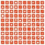 100 science icons set grunge orange. 100 science icons set in grunge style orange color isolated on white background vector illustration vector illustration