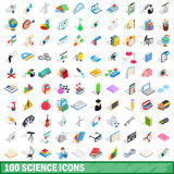 100 science icons set, isometric 3d style Stock Photos