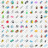 100 science icons set, isometric 3d style Royalty Free Stock Photography