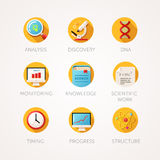 Science icons set. Modern flat colored illustrations. Stock Images