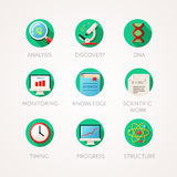 Science icons set. Modern flat colored illustrations. Physics and biology related icons. Royalty Free Stock Photo