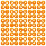100 science icons set orange. 100 science icons set in orange circle isolated on white vector illustration Royalty Free Stock Images
