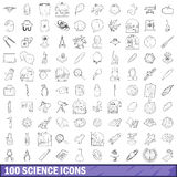 100 science icons set, outline style Stock Image