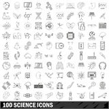 100 science icons set, outline style Stock Photos