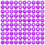 100 science icons set purple. 100 science icons set in purple circle isolated on white vector illustration Royalty Free Stock Photos