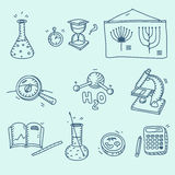 Science icons set school laboratory chemistry Stock Photo