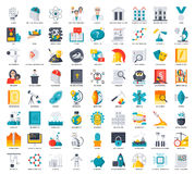 Science Icons Set. Scientific vector illustrations in flat style Stock Images