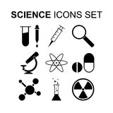Science icons set. Vector illustration. Science icons set. Silhouette vector illustration Royalty Free Stock Image