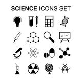 Science icons set. Vector illustration. Science icons set. Silhouette flat design vector illustration Stock Images