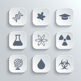 Science icons set - vector white app buttons Royalty Free Stock Image
