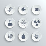 Science icons set - vector white round buttons Royalty Free Stock Photo