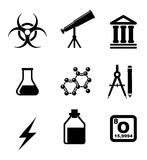 Science icons and symbols Royalty Free Stock Photo