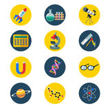 Science icons. A vector illustration of science icons in flat style Royalty Free Stock Photo