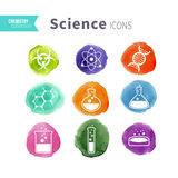 Science icons watercolor blots set Stock Photo