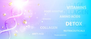 Science illustration of a DNA molecule. Violet chemical banner. Beauty skin care design over blue background. Organic cosmetic and skin care cream. Vector royalty free illustration