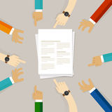 Science journal submission working together on paper Royalty Free Stock Photos
