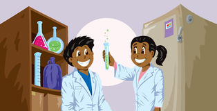 Science kids Stock Photo