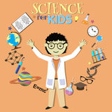 Science for kids. Cartoon scientist, collection of Royalty Free Stock Photos