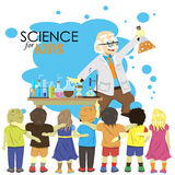Science for kids. Cartoon scientist shows to kids Royalty Free Stock Image