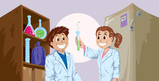Science kids Royalty Free Stock Image
