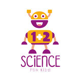 Science for kids logo symbol. Colorful hand drawn label. For child development center, educational club, kids channel, tutorial stock illustration