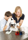 Science Kids Working Together Royalty Free Stock Photos