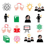 Science, knowledge, creative thinking, ideas  icons set. Creating theories and ideas, education icons set isolated on white Stock Photos