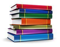 Stack of color books. Science, knowledge, education, back to school, business and corporate office life concept: stack of color hardcovers books isolated on Royalty Free Stock Images