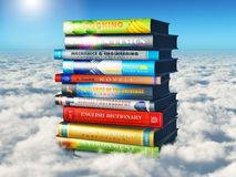 Science, knowledge and education concept. Creative abstract science, knowledge and education concept: 3D render illustration of the stack or pile of color royalty free illustration