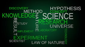 Science, knowledge tag word cloud - blue background stock video