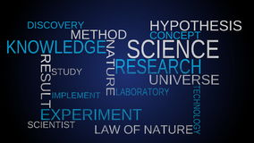 Science, knowledge tag word cloud - blue background stock video footage