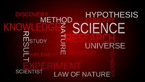 Science, knowledge tag word cloud - red background stock video footage