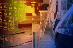 Science lab with chemical theme Royalty Free Stock Image