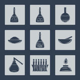 Science lab equipment icons set Stock Image