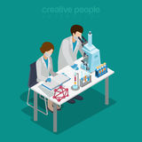 Science lab experiment research chemical flat isometric vector Stock Photos