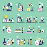 Science Lab Flat Icons Stock Image