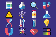 Science lab icons isolated vector set Royalty Free Stock Photos