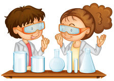 Science Lab. Illustration of two students working in a science lab Stock Images