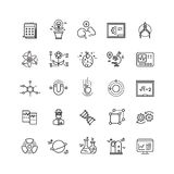 Science lab innovation chemical research thin line vector icons Stock Images