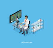 Science Lab Isomatric Design Flat. 3D Science and scientist, science laboratory, lab chemistry, research scientific, microscope and experiment, chemical lab Stock Photos
