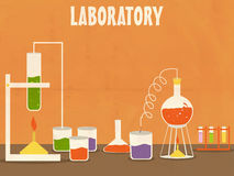 Science lab with labware. Illustration of a Science laboratoty with various beaker and flask for experiment on grungy orange background Royalty Free Stock Photo